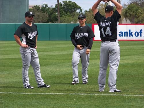 Dan Uggla, Cody Ross, and Gaby Sanchez take a break...