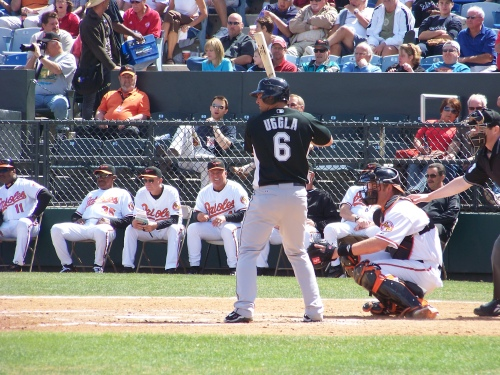 Dan Uggla prepares to launch one over the left field wall