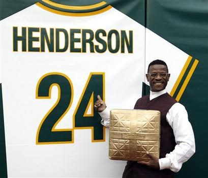 Rickey, his base, and his jersey = Baseball Perfection