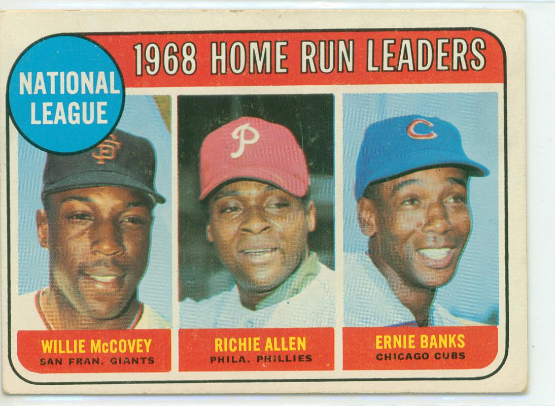 1969 topps honors the nl home run leaders from 1968 30