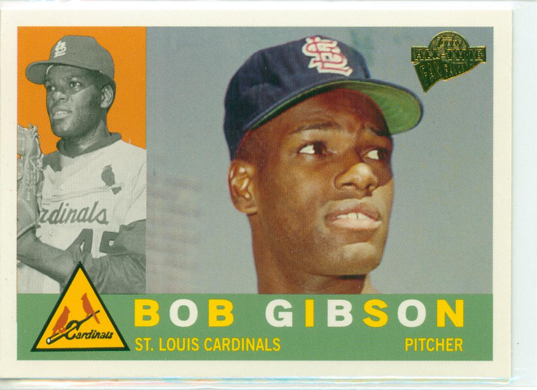 Bob Gibson Baseball Card 1964 world series 30-year old cardboard page ...