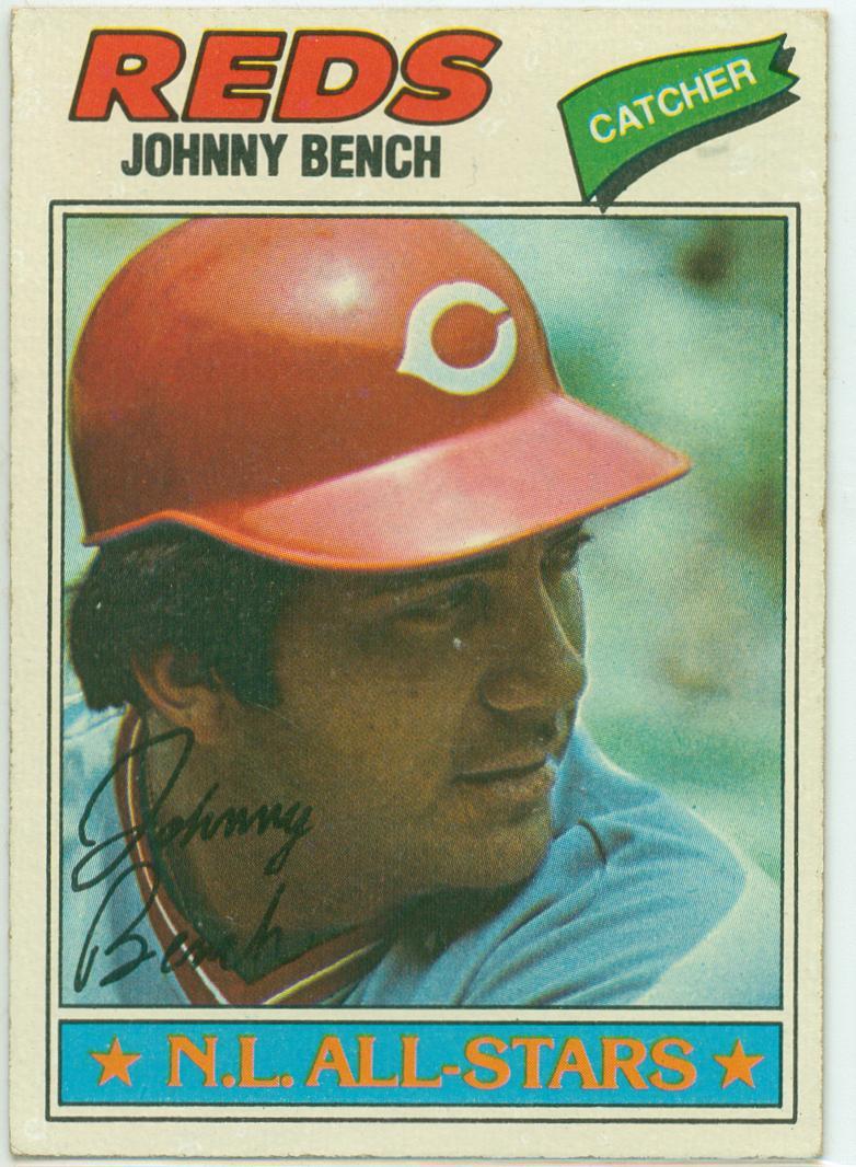 Johnny Bench 1977 Topps Baseball Card 30 Year Old Cardboard