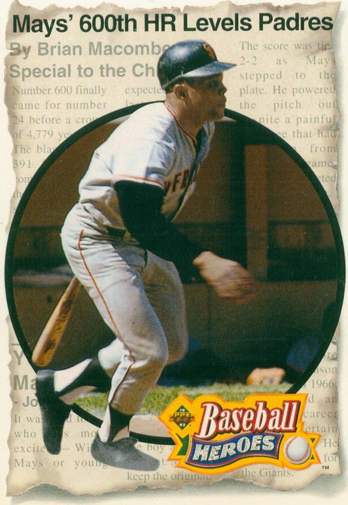 Willie Mays 1992 Upper Deck Baseball Heroes Set Card 6 30 Year