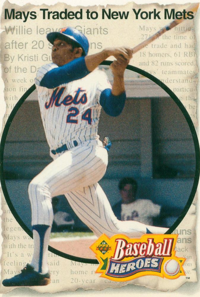Willie Mays 1992 Upper Deck Baseball Heroes Set Card 7 30 Year