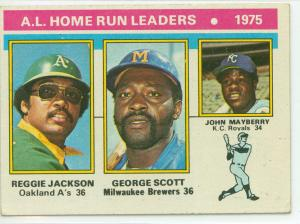 1976 topps al home run leaders featuring reggie jackson