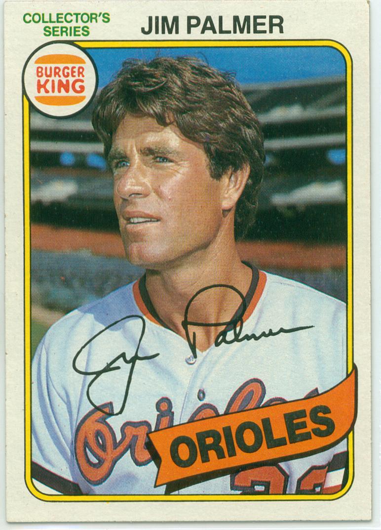 Jim Palmer 1980 Burger King Collectors Series Baseball Card 30