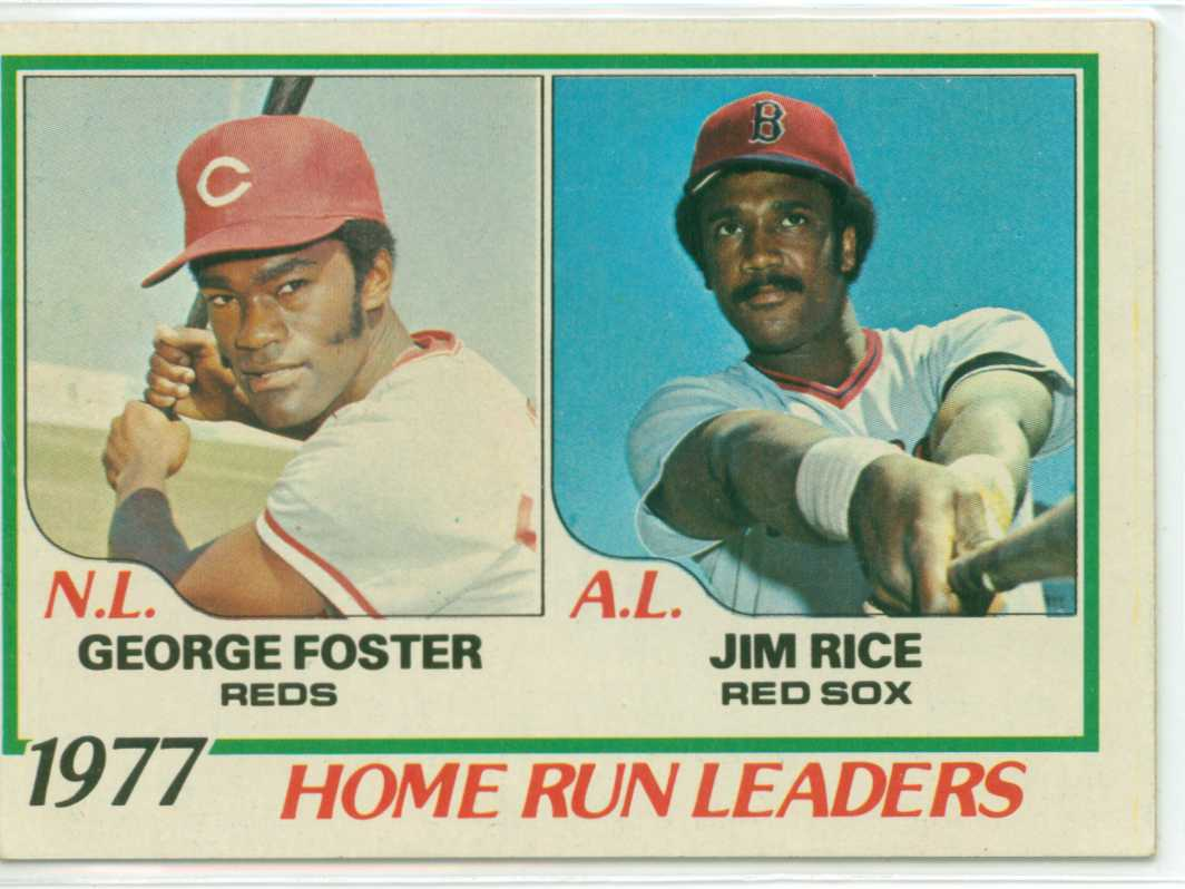 1978 topps 1977 home run leaders featuring george foster