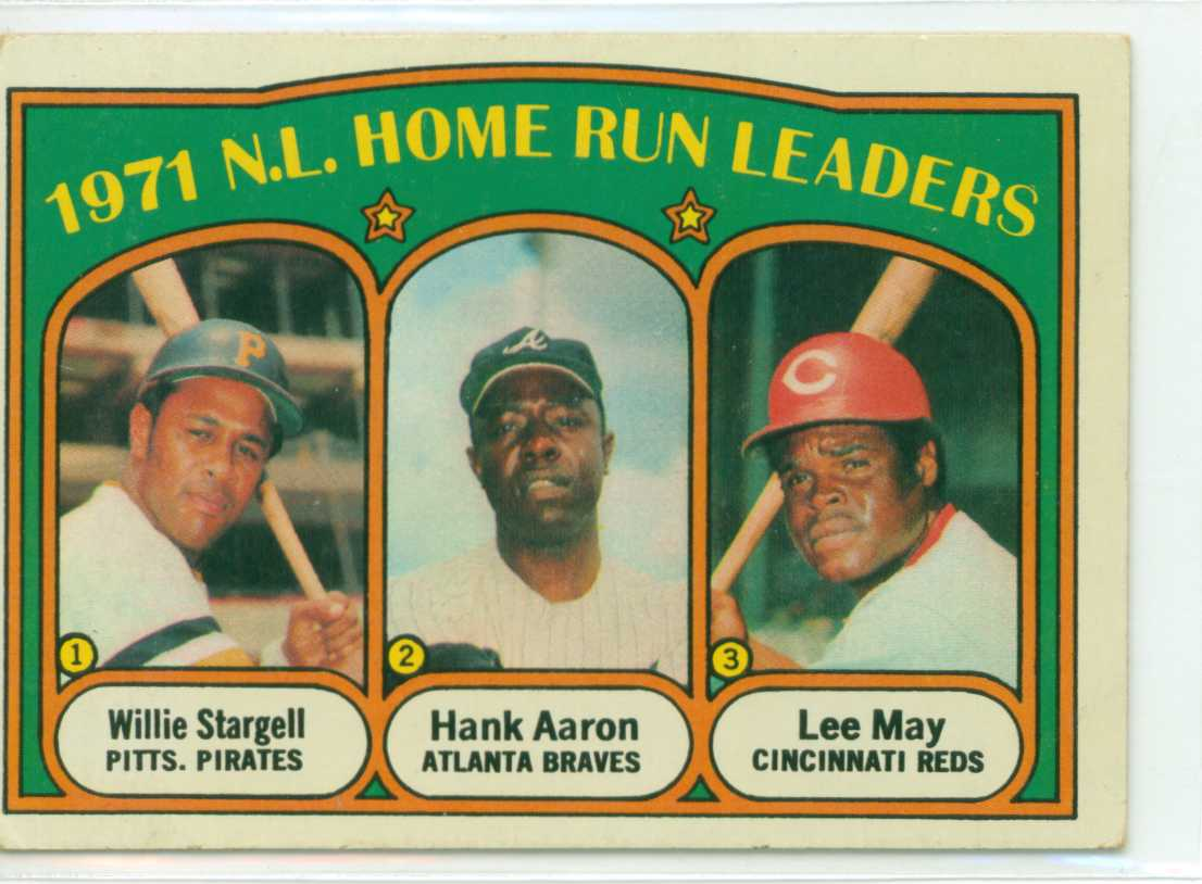 1972 topps 1971 nl home run leaders with willie stargell