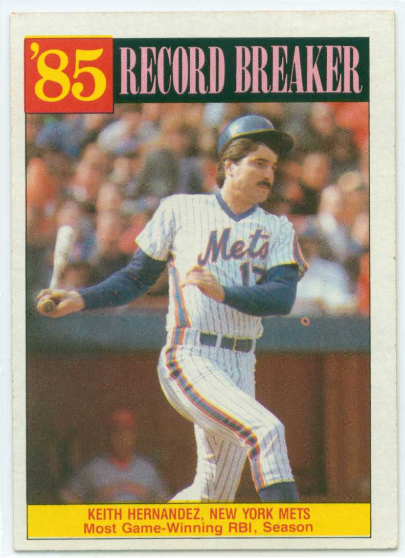 Keith Hernandez 1986 Topps Record Breakers Worst Record