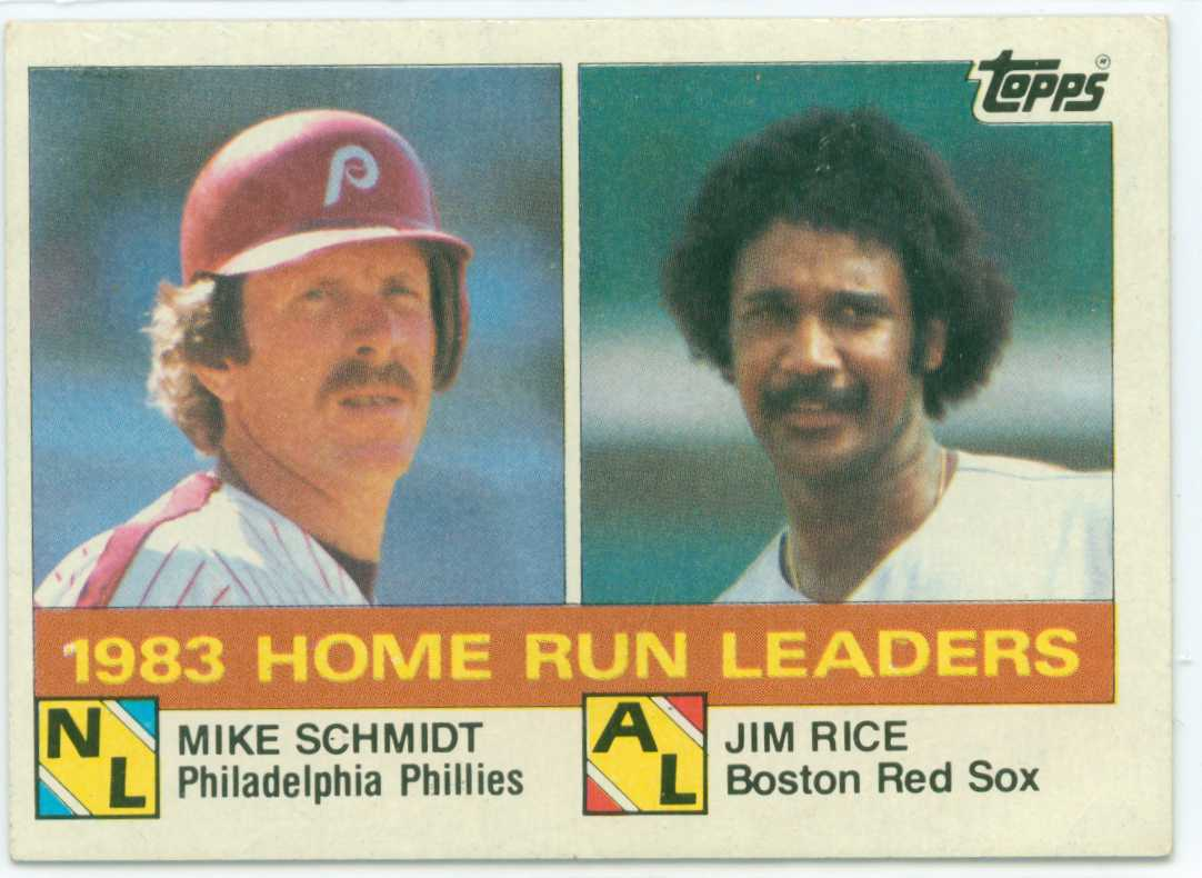 1984 topps 1983 home run leaders starring mike schmidt