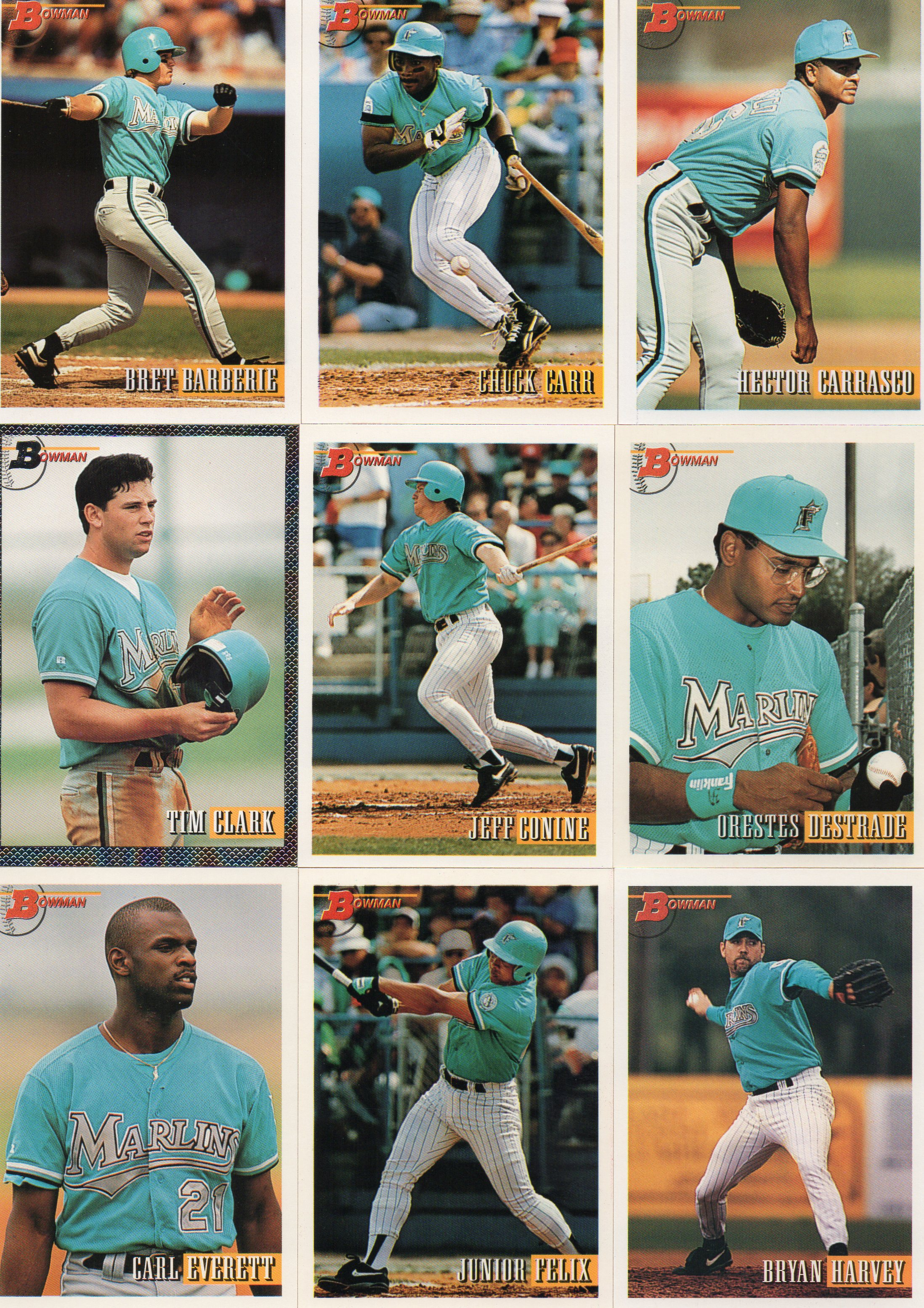 Florida Marlins 1993 Bowman Baseball Card Team Set 30 Year