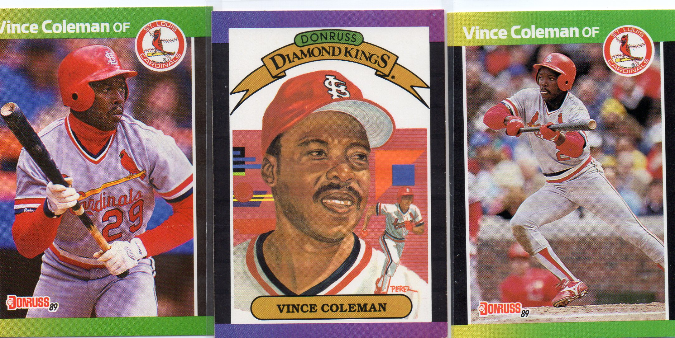 Lot Of 3 Vince Coleman 1989 Donruss Baseball Cards Base