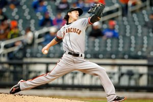 San Francisco Giants starting pitcher Tim Lincecum pitches against the New York Mets during the first inning of their MLB National League baseball game at CitiField in New York